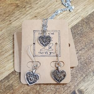 New filigree necklace and earring matching set